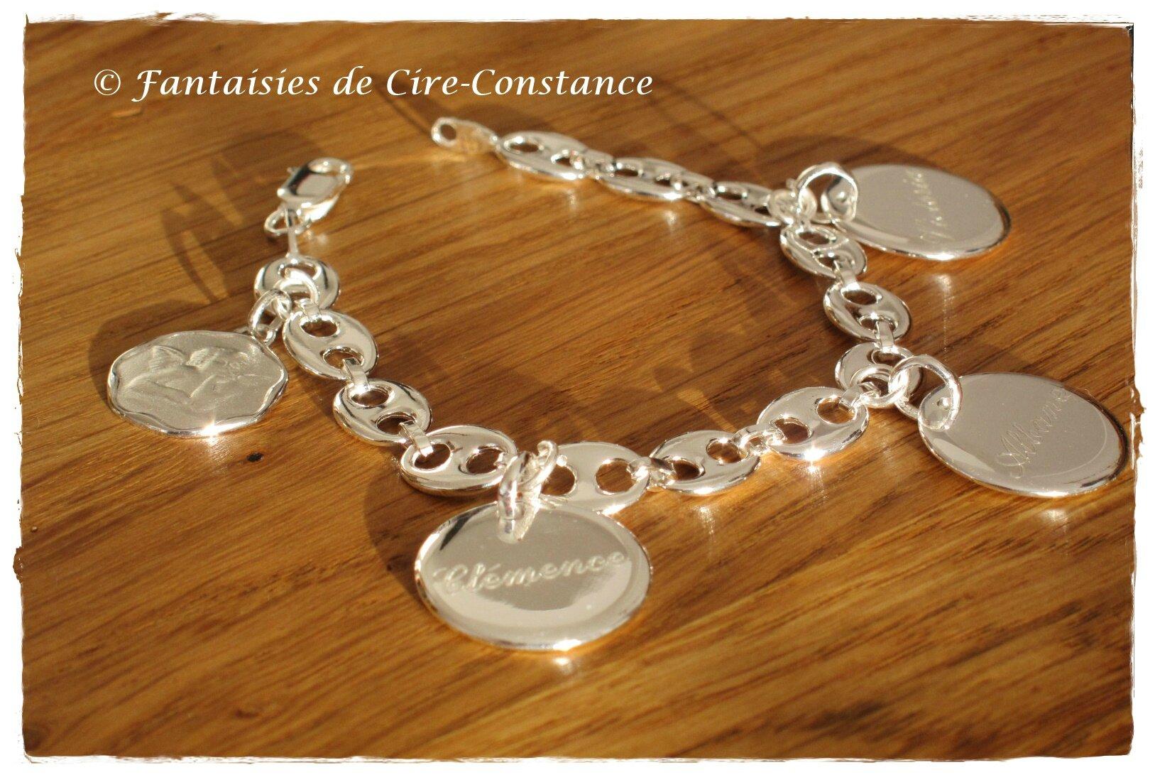 11 b 7b.Bracelet argent massif grains de café moyen médailles gravées recto verso ange Clémence