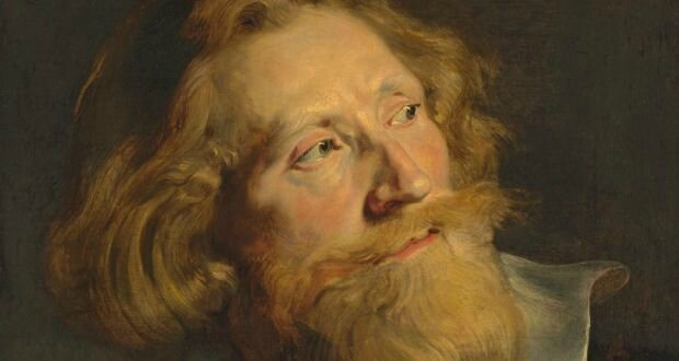 Detail from Sir Peter Paul Rubens, Portrait of a bearded man, in three-quarter profile, bust-length, with a white collar and gold chains