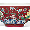 A rare ruby-ground falangcai 'floral' bowl, yongzheng four-character mark and of the period (1723-1735)