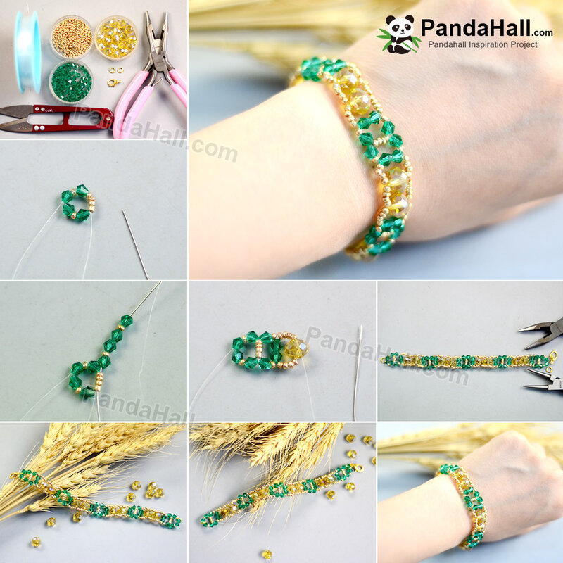 3-1080-PandaHall-Ideas-on-Yellow-and-Green-Electroplate-Glass-bead-bracelet