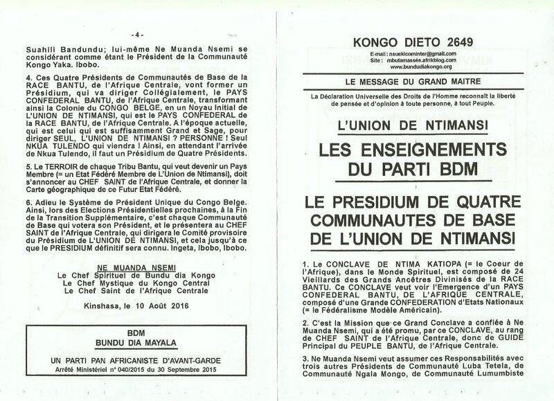LE PRESIDIUM DE QUATRE COMMUNAUTES DE BASE DE L'UNION DE NTIMANSI a