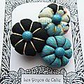 ♥ silana ♥ broche textile japonisante fleurs potirons - les yoyos de calie