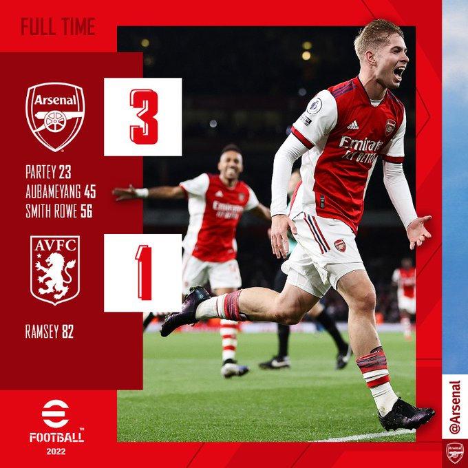 Arsenal retrouve le goût de la victoire face à Aston Villa !