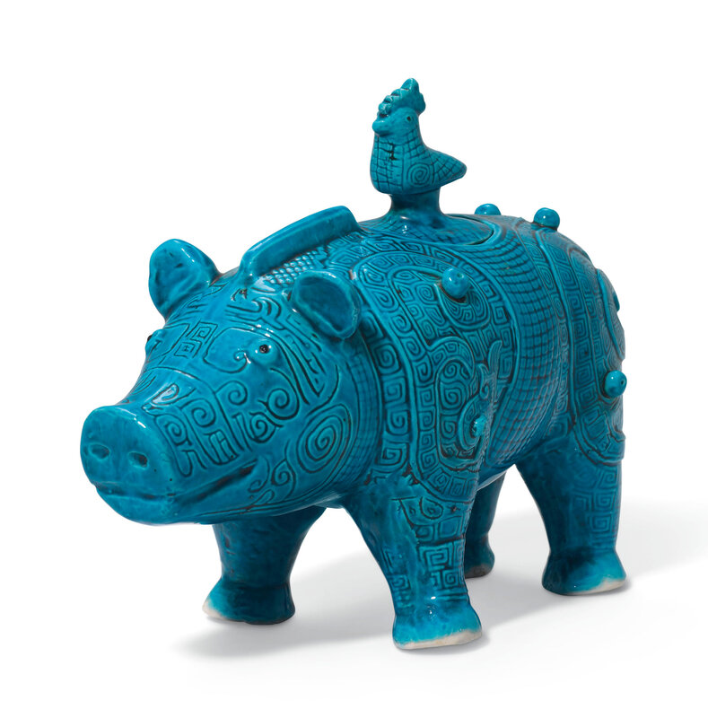 A rare turquoise-glazed archaistic 'Boar' vessel and cover, zun, Kangxi period (1662-1722)