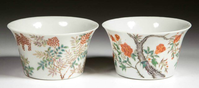 Set of Chinese Export porcelain famille rose Ming-style months tea bowls 3