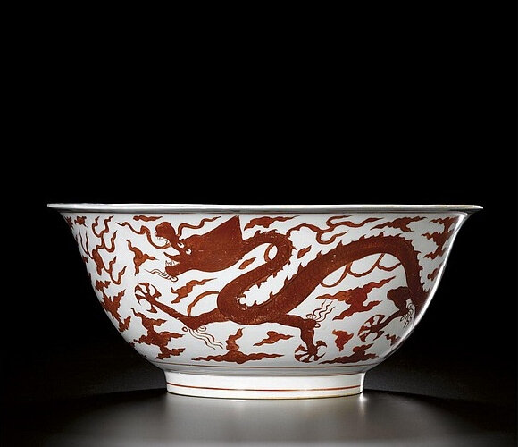 An unusually large iron-red 'Dragon' bowl, mark and period of Jiajing