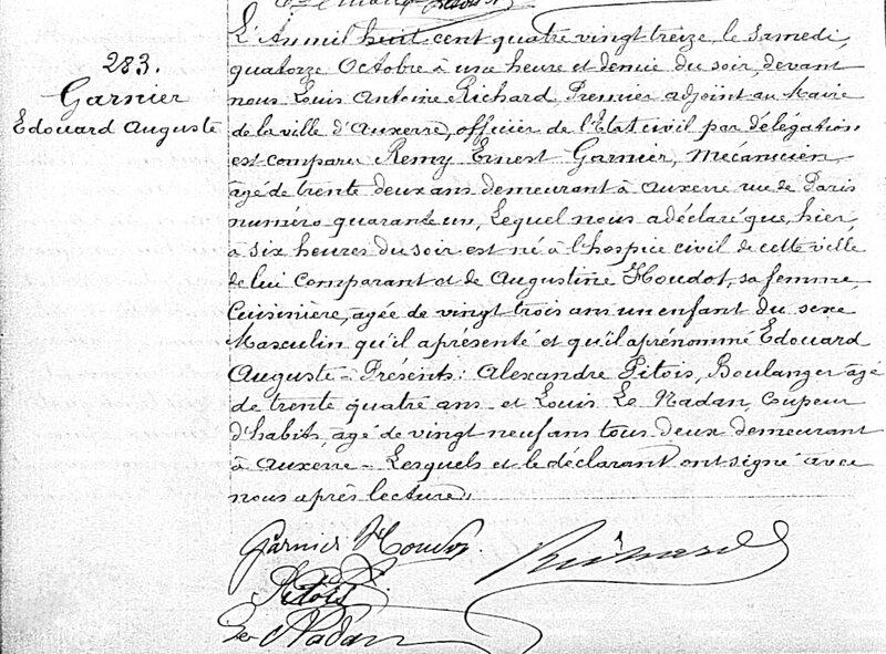 acte de naissance d'Édouard Auguste Garnier