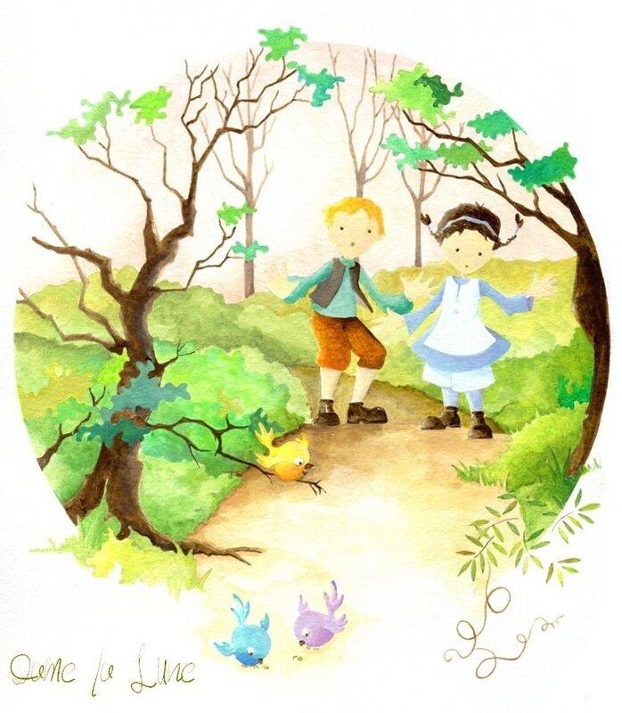 6_conte_de_Grimm_Dame_la_Lune_Hansel _&_Grethel_Illustration