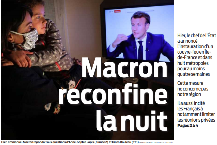2020 10 15 SO Macron reconfine la nuit