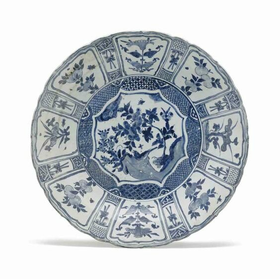A very large 'Hatcher cargo' blue and white dish, Transitional, mid-17th century