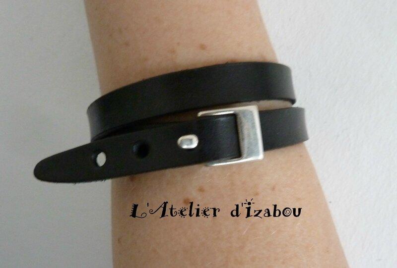 P1210403 Bracelet masculin féminin double tour cuir noir et fermoir boucle ceinture