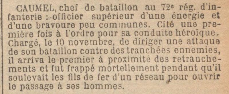 JO 26 janvier 1915 Caumel citation ordre de l'armée