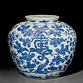 A large blue and white 'Three friends of winter' jar, Jiajing six-character mark in underglaze blue and of the period (1522-1566)