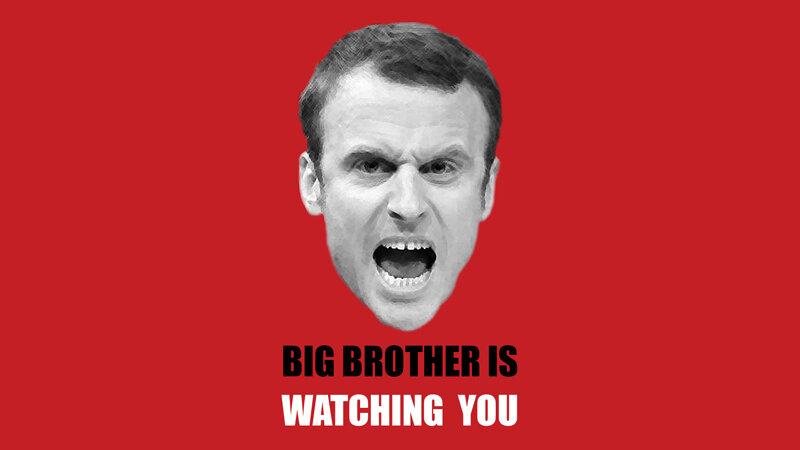 Macron-en-Big-brother-is-watching-you-Exoportail