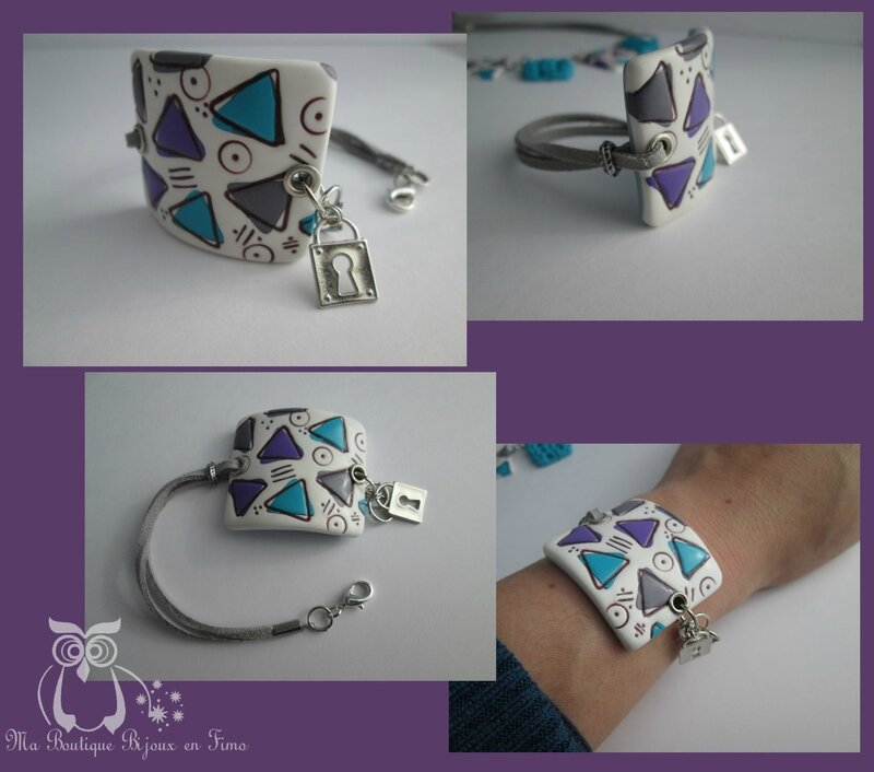 Bracelet tricot triangle turquoise