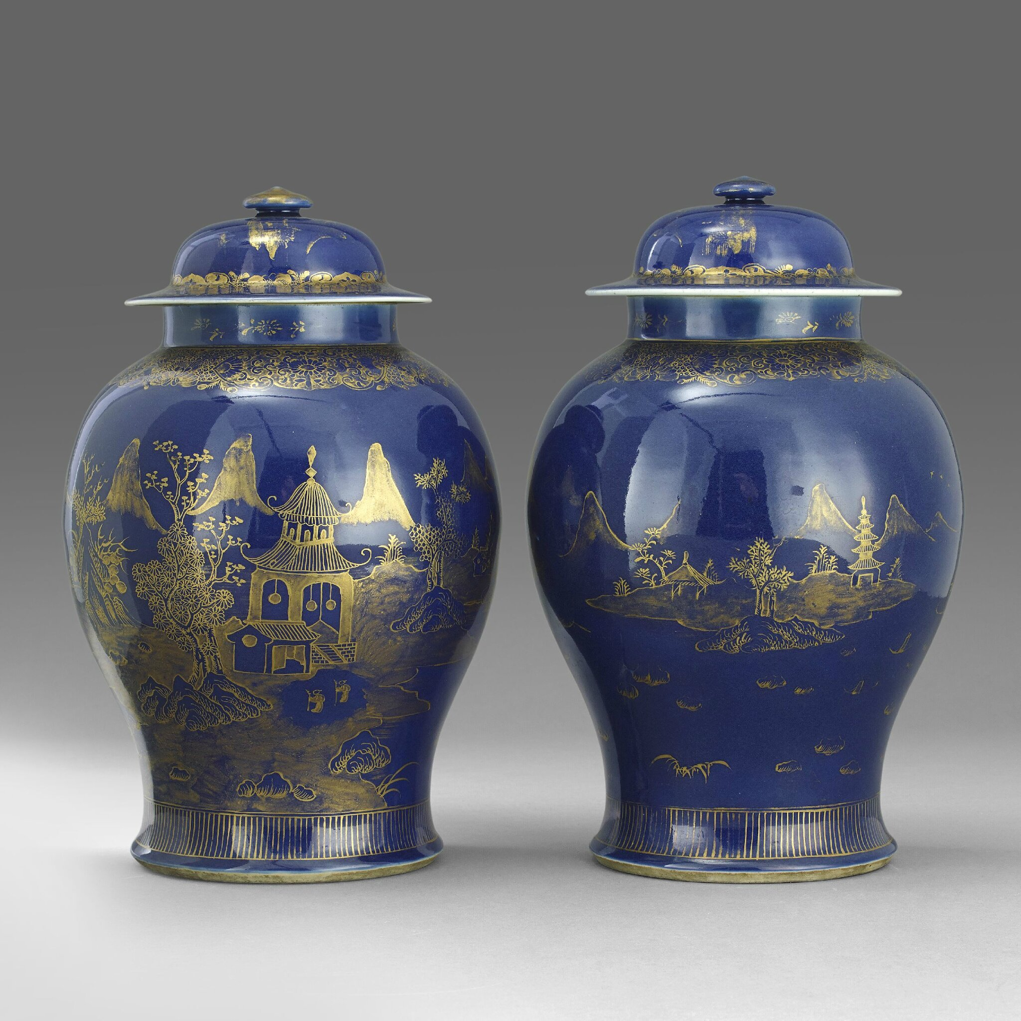 A Pair of Powder-Blue Baluster Jars and Covers, Jiaqing period (1796-1820). Photo Stockholms Auktionsverk,