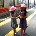 Petites densha girls in Kamata eki