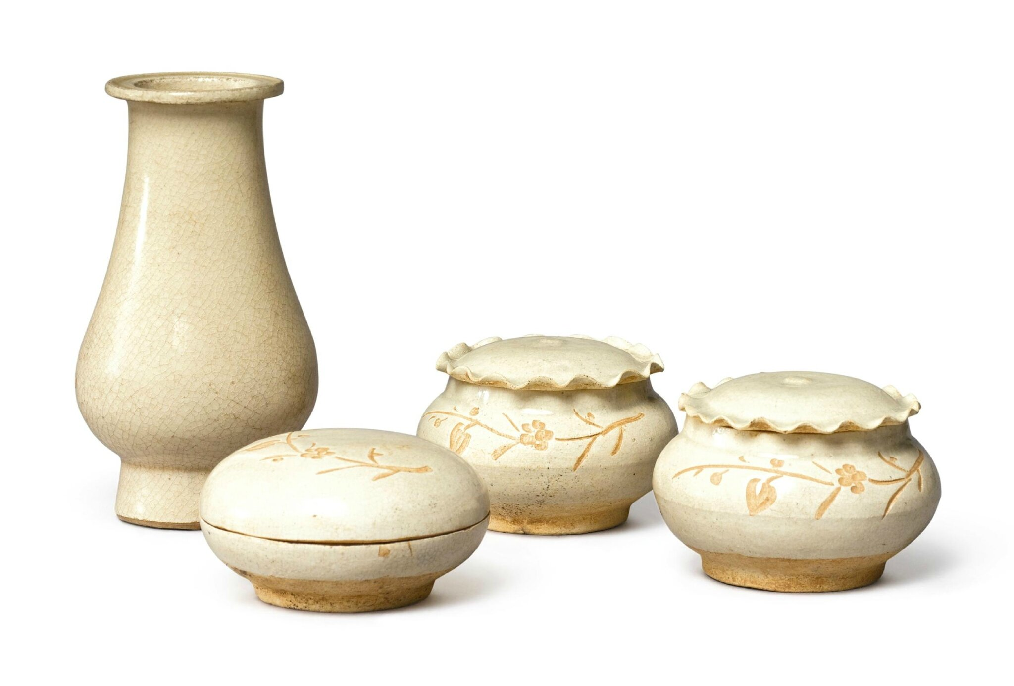 Three 'Jizhou' resist-decorated 'prunus' wares, Southern Song dynasty (1127–1279)