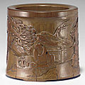 An unusual carved bamboo brush pot, 18th century
