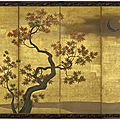 One of a pair of six-fold paper screens painted in ink and colour on a gold ground with momiji (maple), japan, 18th century, edo