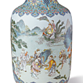 A turquoise-ground famille-rose 'Eight Immortals' vase, Qianlong mark and period