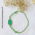 Bracelet Médaille miraculeuse émaillée sur cordon fin (vert)