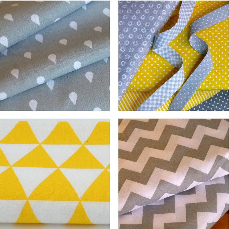 tissu imprime graphique gris jaune pikebou 2