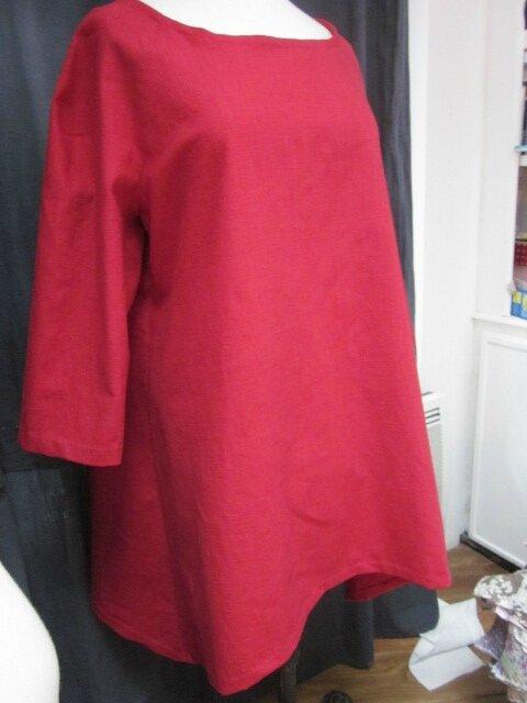 Tunique EDMEE en lin rouge (1)