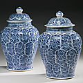 A pair of blue and white baluster jars and covers, qing dynasty, kangxi period (1662-1722)