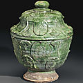 A large green-glazed red pottery pedestal bowl and cover, china, liao dynasty or later