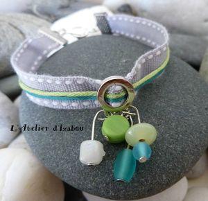 P1090855 Bracelet d'été coton gris vert et bleu turquoise perles verre