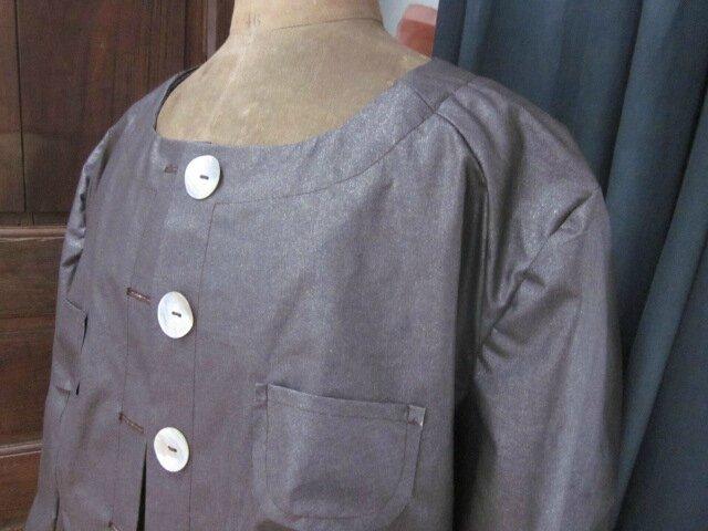 Veste Bertille en coton enduit brun pailleté - taille 56 (7)