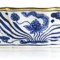 A superbly painted and extremely rare blue and white 'Fish pond' brush washer, Mark and period of Xuande