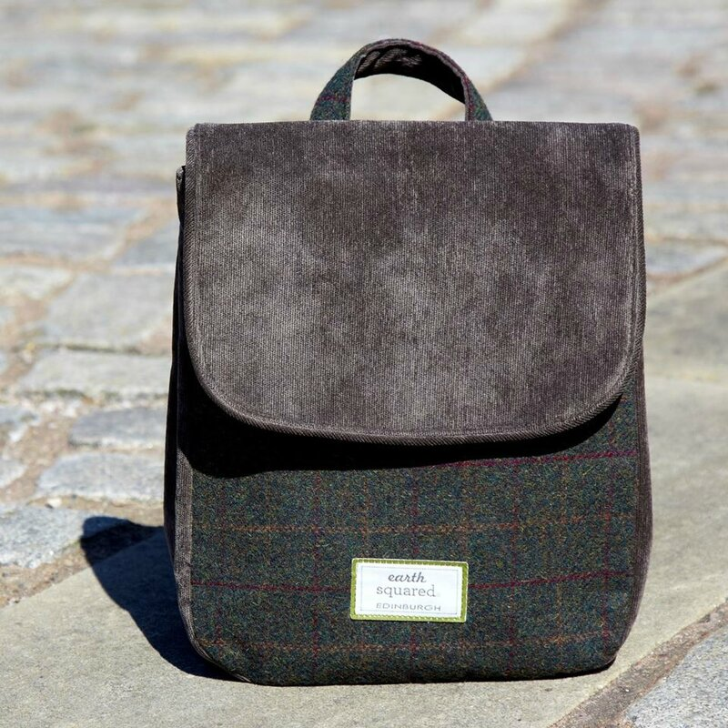 sac à dos tweed et velours Earth Squared