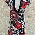 Tunique porte feuilles blanc noir rouge manches courtes city jennyfer taille s