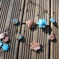 fleurs bleues et marron réversible