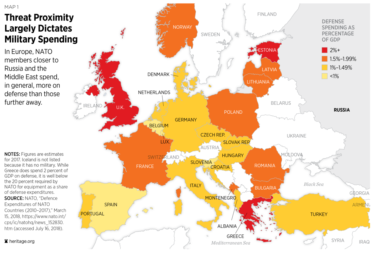 europe defense Map of defense spending as a % of GDP