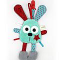 Doudou lapin attache tétine bleu eau rouge