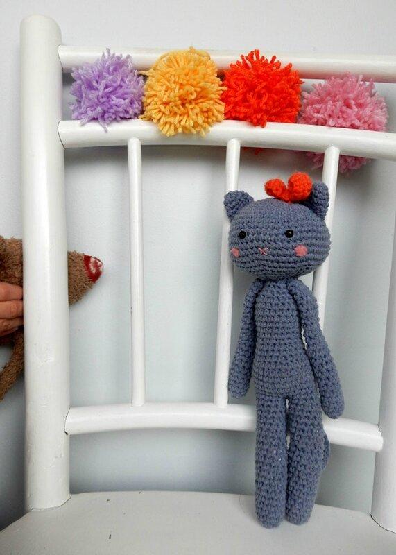 chat bleu (doudous d'Agathe Rose) - Anisbee
