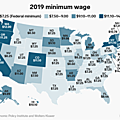 Minimum Wages across the US, 2019