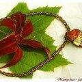 DOUBLE DAISY CHAIN avec feuille murano(schéma gratuite chez Beadinfinitum)