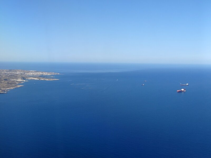 Premier aperçu de l'archipel maltaise - vue du ciel