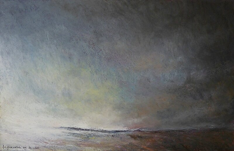 Horizon Elévation #72 , juillet 2016, pastel à l'huile, 48 x 32 cm