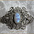 Pince à cheveux elfique mariage medieval fatansy labradorite wicca pagan elven wedding hair slide