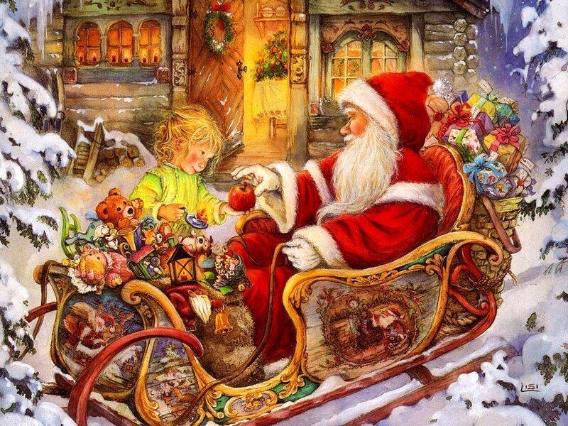 Nice Christmas Wallpaper Santa Claus_ Joli fond d ecran de Noel_ Pere Noel avec son traineau_