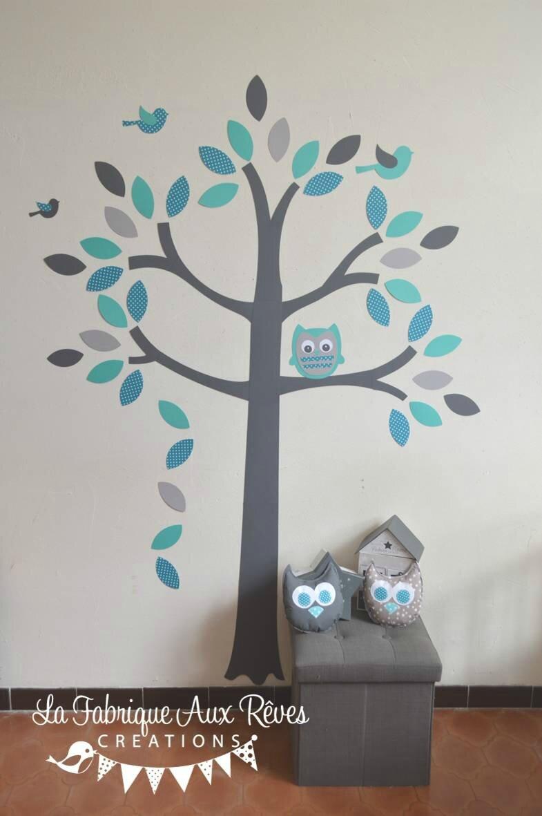 stickers arbre turquoise p trole gris hibou oiseaux d coration chambre b b gar on turquoise. Black Bedroom Furniture Sets. Home Design Ideas
