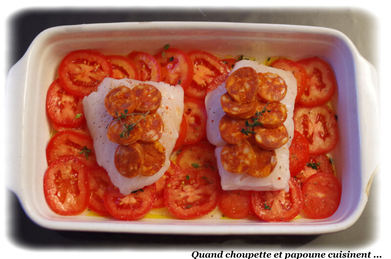 cabillaud en croûte de chorizo et tomate au thym au four-611