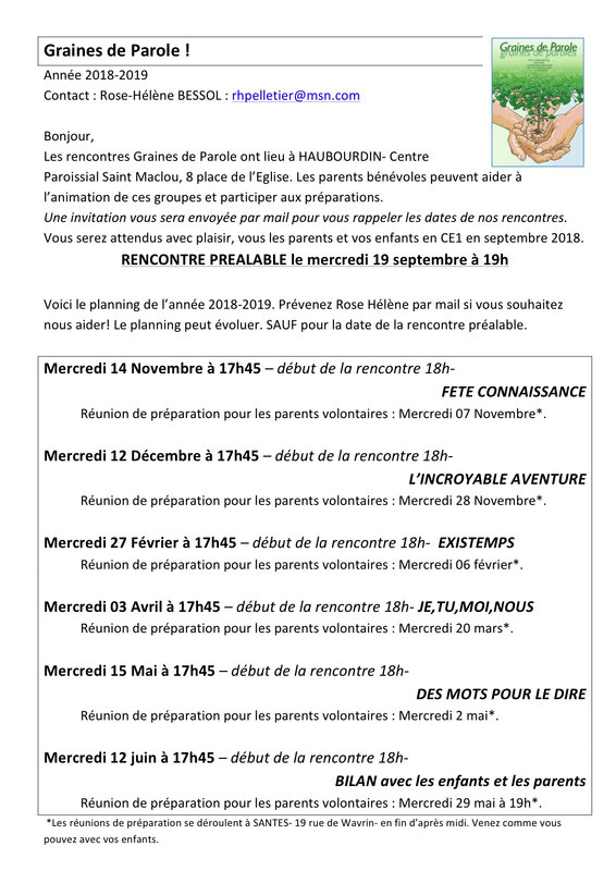 Graines de Parole planning 2018-2019