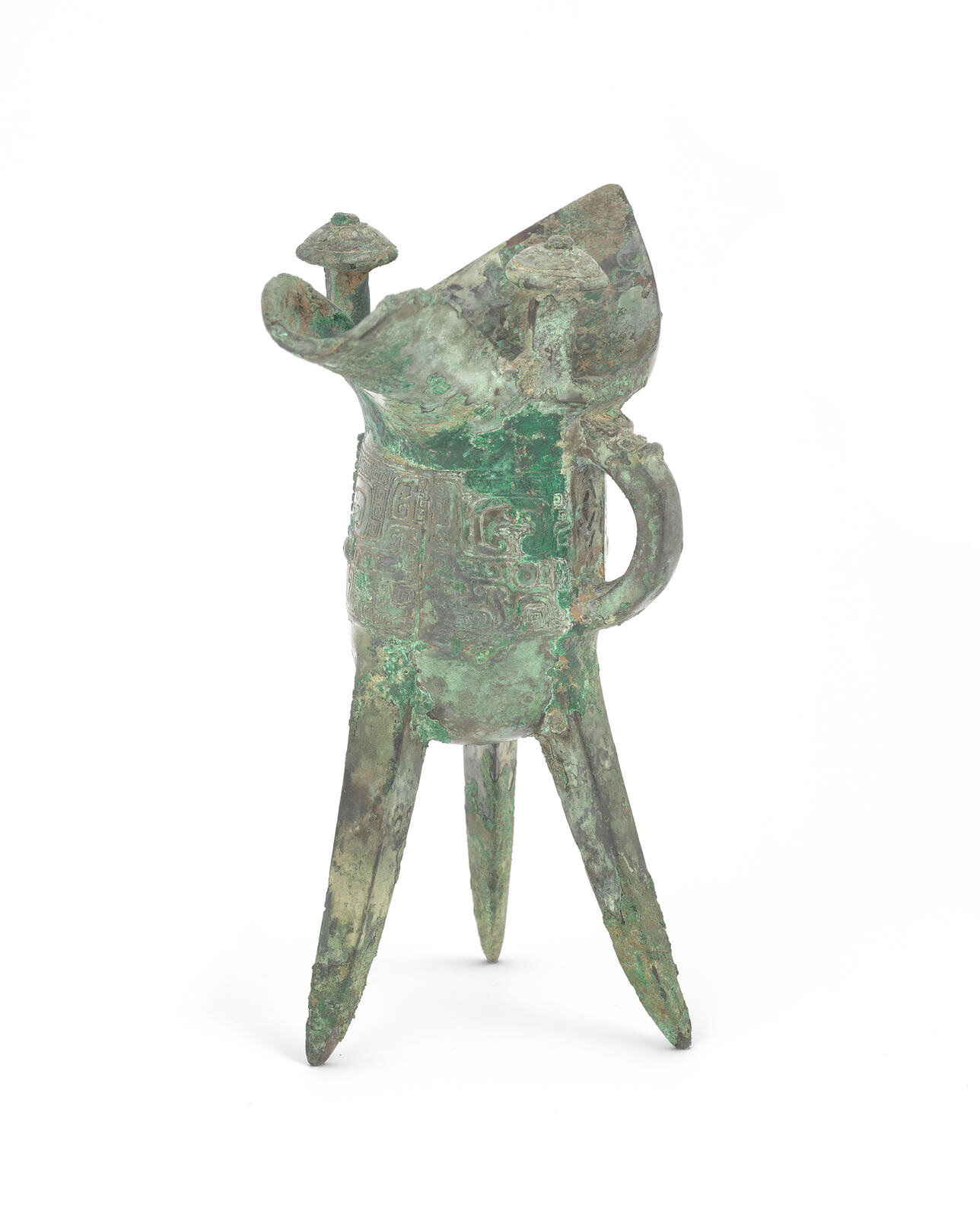 An archaic bronze ritual wine vessel, Jue, Shang Dynasty (circa 1600-1046 BCE)