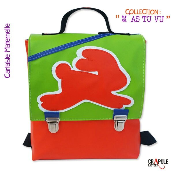 Cartable maternelle /sac à dos /sacoche original LAPIN pop vert orange rabat applique lapin orange blanc fermoir clip